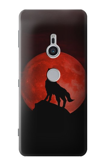 Printed Wolf Howling Red Moon Sony Xperia XZ2 Case