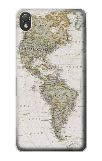 Printed World Map Sony Xperia Z3 Case