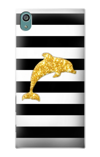 Printed Black and White Striped Dolphin Gold Glitter Sony Xperia Z5 Case