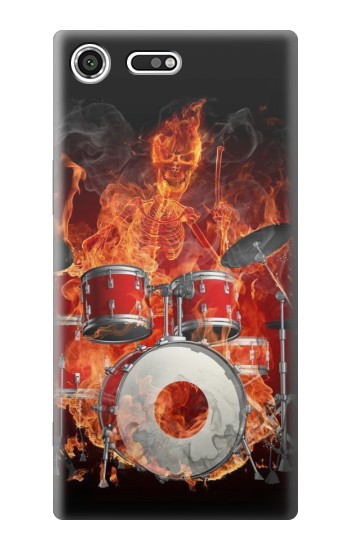 Printed Skull Drum Fire Rock Sony Xperia C3 Case
