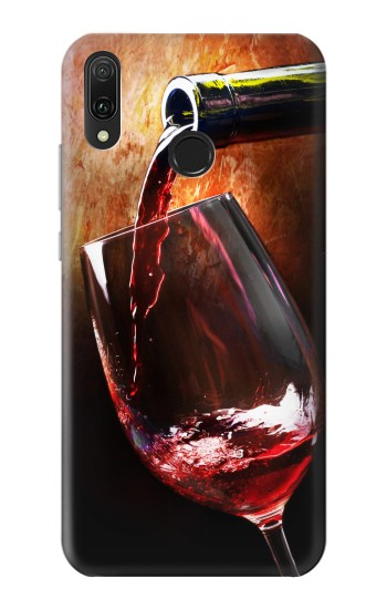 Printed Red Wine Bottle And Glass Huawei Y9 2019 Case