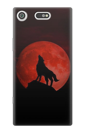 Printed Wolf Howling Red Moon Sony Xperia E5 Case
