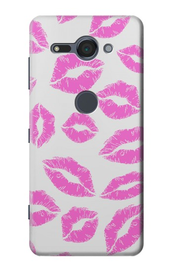 Printed Pink Lips Kisses Sony Xperia XZ2 Compact Case