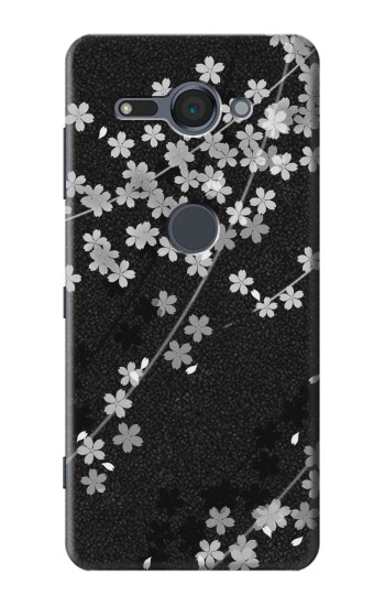 Printed Japanese Style Black Flower Pattern Sony Xperia XZ2 Compact Case