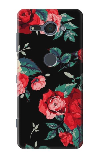 Printed Rose Floral Pattern Black Sony Xperia XZ2 Compact Case