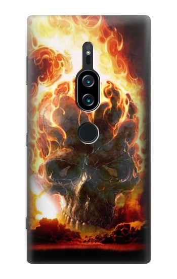Printed Hell Fire Skull Sony Xperia XZ2 Premium Case