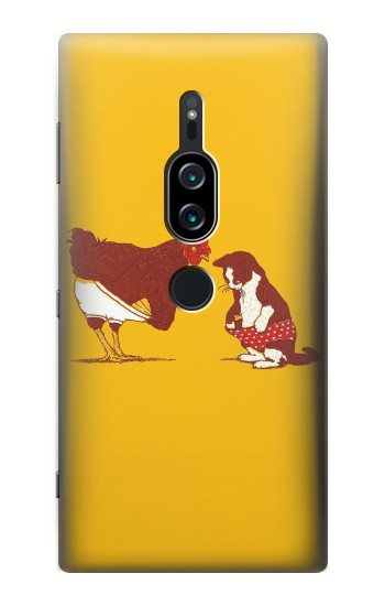 Printed Rooster and Cat Joke Sony Xperia XZ2 Premium Case