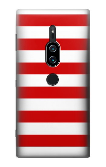 Printed Red and White Striped Sony Xperia XZ2 Premium Case