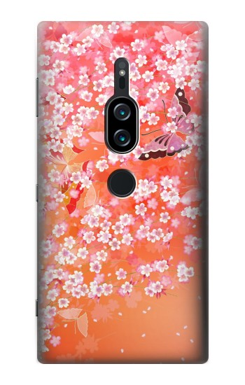 Printed Japanese Style Flower Pattern Sony Xperia XZ2 Premium Case