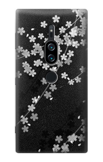 Printed Japanese Style Black Flower Pattern Sony Xperia XZ2 Premium Case