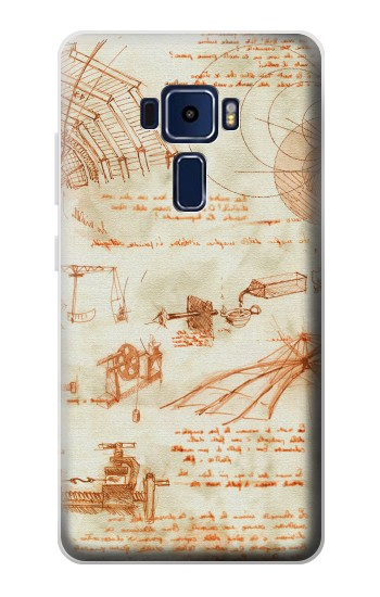 Printed Technical Drawing Da Vinci Asus Zenfone 3 Deluxe ZS570KL Case