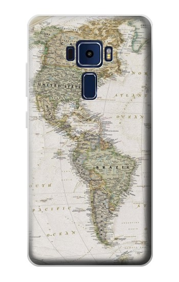 Printed World Map Asus Zenfone 3 Deluxe ZS570KL Case