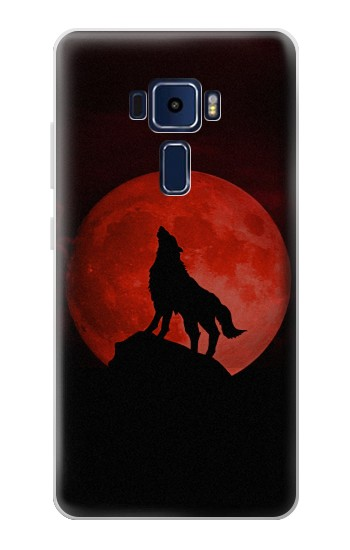Printed Wolf Howling Red Moon Asus Zenfone 3 Deluxe ZS570KL Case