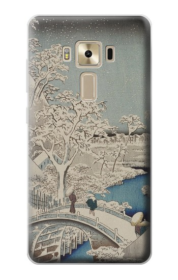 Printed Utagawa Hiroshige The Drum Bridge at Yuhi Hill in Meguro Asus Zenfone 3 ZE520KL Case